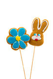 Easter bunny cookies and flower Royalty Free Stock Photography