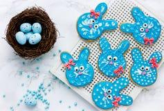 Easter bunny cookies stock image
