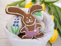 Easter Bunny cookies and painted eggs Stock Images