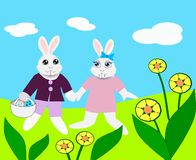 Easter Bunny Couple. Two Easter bunnies walking together and Royalty Free Stock Photo