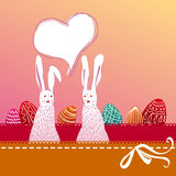 Easter bunny couple with painted eggs. Cute easter illustration with colorful painted eggs and a couple of white bunnies Stock Images