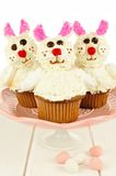 Easter bunny cupcakes on a cake stand Stock Images