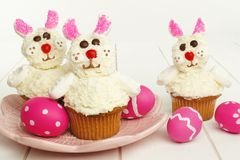 Easter bunny cupcakes Stock Photos