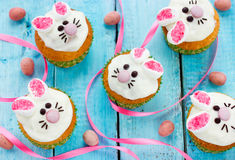 Easter bunny cupcakes. Easter treats for kids stock photography
