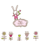 Easter bunny, cute doodle design element for greeting card Royalty Free Stock Photos