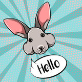 Easter bunny cute face rabbit vector illustration Stock Photos