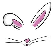 Free Easter Bunny Cute Vector Illustration Drawn By Hand. Bunny Face, Ears And Tiny Muzzle With Whiskers Isolated On White Stock Photos - 174064983