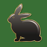 Easter bunny. dark gray bunny in a golden frame. gloss finish. green background. Illustration Stock Photography