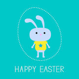 Easter bunny in the dash egg. Card. Royalty Free Stock Photography