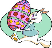 Easter Bunny with Decorated Egg. Cartoon Easter Bunny running along with a large painted Easter egg stock illustration