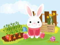 Easter bunny. Decorated Easter eggs in a grass. Easter bunny. Decorated Easter eggs in a grass royalty free illustration