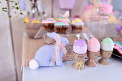 Easter bunny and decoration Stock Images