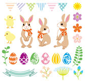 Easter Bunny and Decoration set Stock Image