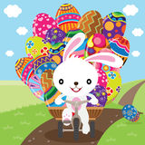 Easter Bunny Deliver Painted Eggs Royalty Free Stock Photos