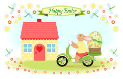Easter bunny delivers big easter egg Royalty Free Stock Photos