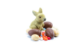 Easter bunny with different kinds and colors of chocolate easter Royalty Free Stock Photo