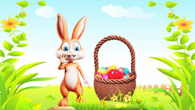 Easter Bunny doing bye with eggs basket stock video