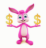 Easter Bunny with dollar. 3D illustration of Easter bunny with dollar Stock Photos