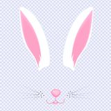 Easter Bunny ears and nose. Mask for carnival, selfie, photo, chat. The face of the animal. Rabbit filter.  vector illustration