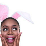 Easter Bunny. African American black woman girl dressed in Spring Easter bunny ears stock images