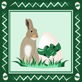 Easter bunny with easter egg. Illustration of easter bunny with easter egg with green background Stock Images