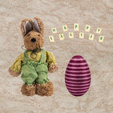 Easter bunny and Easter egg . Stock Photo