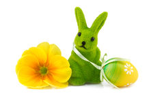 Easter bunny with easter egg and flower Royalty Free Stock Photo