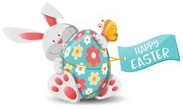 Easter bunny and easter egg isolated vector