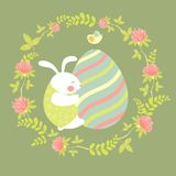 Easter bunny and easter egg. Vector illustration Royalty Free Stock Photography