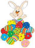Easter Bunny and Easter eggs vector illustration