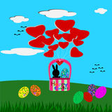 Easter Bunny and Easter eggs in the basket, Easter greeting card Stock Photography
