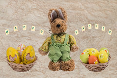 Easter bunny and Easter eggs . Royalty Free Stock Image