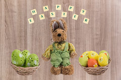 Easter bunny and Easter eggs . Stock Photography