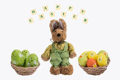 Easter bunny and Easter eggs . Stock Photo