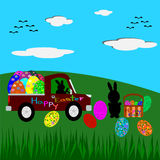 Easter Bunny and Easter eggs, Easter greeting card Stock Images