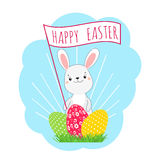 Easter bunny and easter eggs. Stock Images