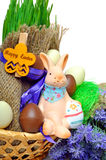 Easter bunny, easter eggs islated on white Royalty Free Stock Photography