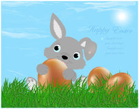 The Easter bunny with Easter eggs Royalty Free Stock Image