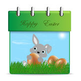 The Easter bunny with Easter eggs Stock Photography