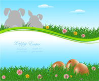 The Easter bunny with Easter eggs Stock Image