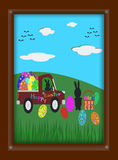 Easter Bunny and Easter eggs in picture frame Stock Photos