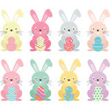 Easter bunny,Easter eggs set Stock Photography