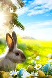 Art Easter bunny, Easter eggs and spring flower Royalty Free Stock Image