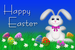 Easter Bunny and Easter Eggs. Easter bunny surrounded by Easter eggs Royalty Free Illustration