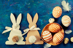 Easter bunny and  easter eggs Royalty Free Stock Images