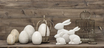 Easter bunny and easter eggs. Vintage decoration Royalty Free Stock Photos