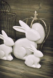 Easter bunny and easter eggs. Vintage decoration Royalty Free Stock Images
