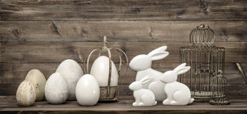 Easter bunny easter eggs. Vintage interior decoration Royalty Free Stock Images