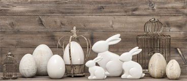 Easter bunny and easter eggs. Vintage style decoration Stock Image