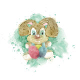 Easter bunny with easter eggs. Watercolor illustration of a Easter bunny with easter eggs Vector Illustration
